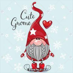 دانلود وکتور عروسکی بابانوئل با لباس ست قرمز