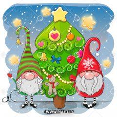 دانلود وکتور کارتونی کریسمس بابانوئل در کنار درخت کاج