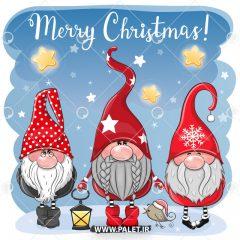 دانلود وکتور بابانوئل های دوست داشتنی در کنار هم