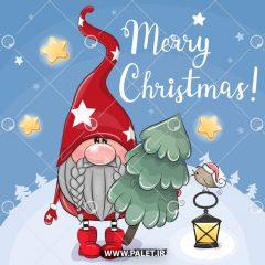 وکتور کارتونی بابانوئل درخت کریسمس در دست