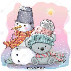 دانلود وکتور کارتونی موش و آدم برفی کریسمس