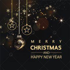 دانلود وکتور مناسبتی کریسمس تم مشکی طلایی