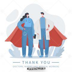 دانلود وکتور تشکر از پرستاران و دکتر ها