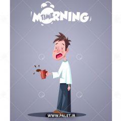 طرح وکتور پسر فانتزی در حین خوردن قهوه صبحانه