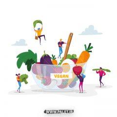 دانلود وکتور فانتزی تبلیغ گیاه خواری