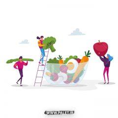 دانلود وکتور فانتزی ظرف میوه های متنوع