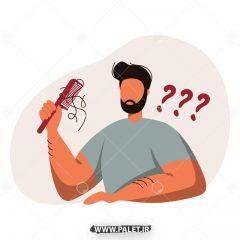 دانلود طرح وکتور مرد در حال شانه زدن موها