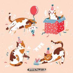 دانلود مجموعه طرح وکتور حیوانات کارتونی گربه کریسمس