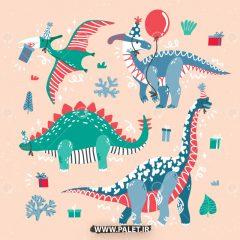 دانلود وکتور حیوانات کارتونی دایناسورهای کریسمس