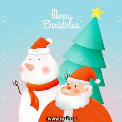 دانلود وکتور تبریک کریسمس آدم برفی