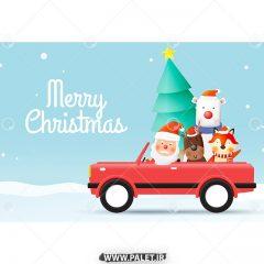 وکتور تبریک بابانوئل و حیوانات کریسمس
