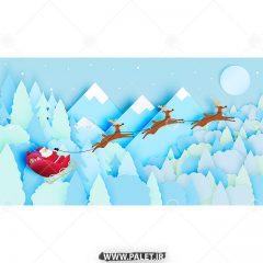 وکتور تبریک سال نو بابانوئل و گوزن کریسمس