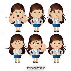 وکتور کاراکتر کارتونی دختر کوچولو با موهای بلند