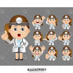 مجموعه وکتور کاراکتر کارتونی خانم دکتر و پرستار