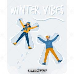 دانلود طرح وکتور خانم و آقا در حال برف بازی