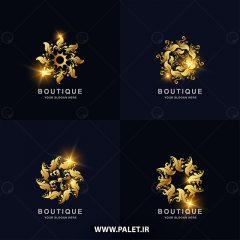 دانلود وکتور لوگو شرکتی طرح بوتیک زمینه طلایی