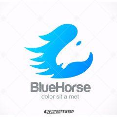 دانلود وکتور لوگوی شرکتی اسب زمینه آبی