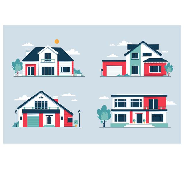 دانلود وکتور ساختمان در چهار طرح مختلف