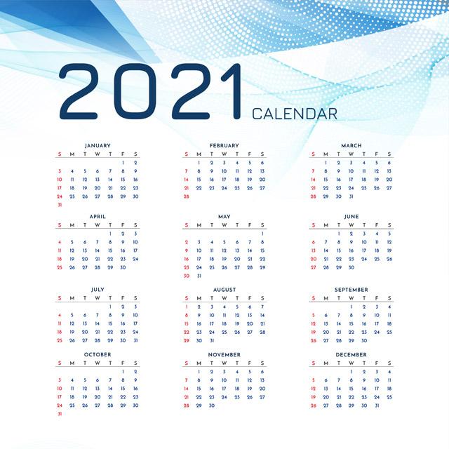 دانلود وکتور تقویم 2021 با پس زمینه فانتزی