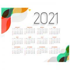 طرح لایه باز تقویم میلادی 2021 نسخه چاپی