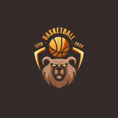 دانلود وکتور لوگو خرس بسکتبالی