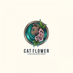 وکتور لوگو گربه و گل زیبا