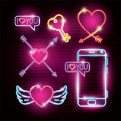 وکتور قلب و موبایل نوری عاشقانه