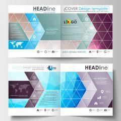 دانلود وکتور جلد مجله با طرح مثلث رنگی