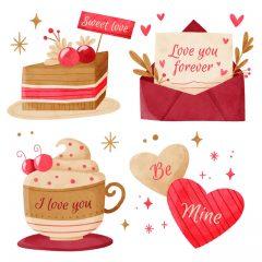وکتور کیک و نامه عاشقانه