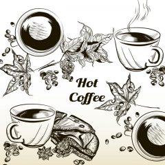 دانلود وکتور فنجان قهوه با کیک شکلاتی