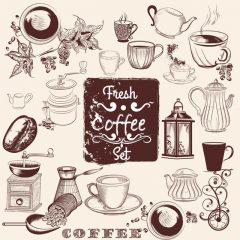 دانلود وکتور قهوه ساز و فنجان قهوه