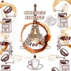 طرح لایه باز قهوه فرانسوی و برج ایفل