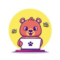 دانلود وکتور خرس کارتونی مهربان