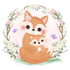 وکتور روباه مادر و بچه روباه کارتونی