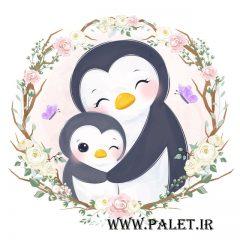 وکتور پنگوئن مادر و بچه پنگوئن بانمک