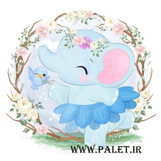 وکتور بچه فیل کارتونی آبی