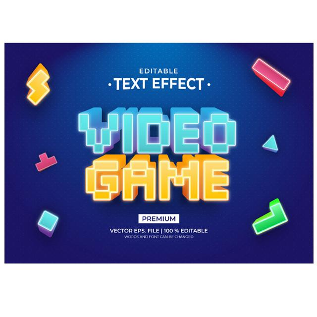 وکتور استایل متن بازی کامپیوتری قدیمی