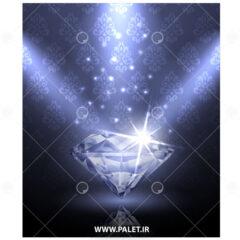 وکتور الماس نورانی و پس زمینه بنفش