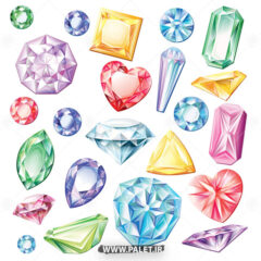 وکتور الماس کارتونی در رنگ های مختلف