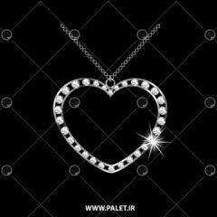 وکتور گردنبند الماس طرح قلب