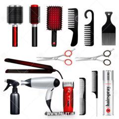 وکتور انواع شانه و قیچی برای آرایشگاه