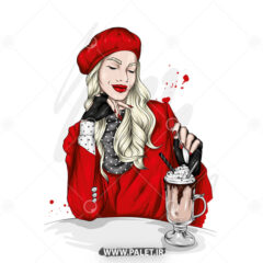 وکتور دختر مدل با کلاه قرمز جذاب