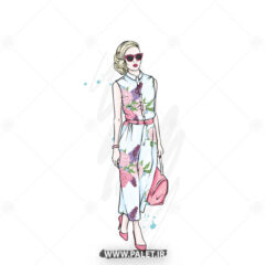 وکتور دختر مدلینگ لباس گل گلی زیبا
