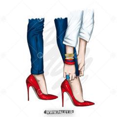 وکتور دختر با کفش پاشنه بلند قرمز