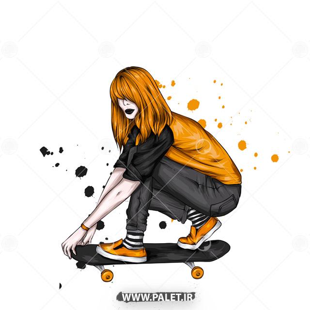 وکتور دختر ورزشکار با مو های رنگی