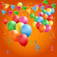 طرح وکتور جشن تبریک با بادکنک های رنگی
