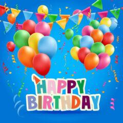 وکتور طرح تبریک تولد با بادکنک های زیبا