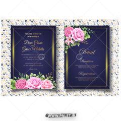وکتور طراحی کارت عروسی گلدار