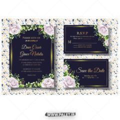 وکتور کارت عروسی گلدار در سه طرح