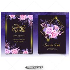 وکتور کارت دعوت جشنی طلایی گلدار